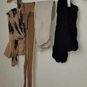 White, Nude, Beige Black Small Tights